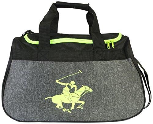 Club Duffle - Beverly Hills Polo Club Gym Duffle Bag, Black/Lime