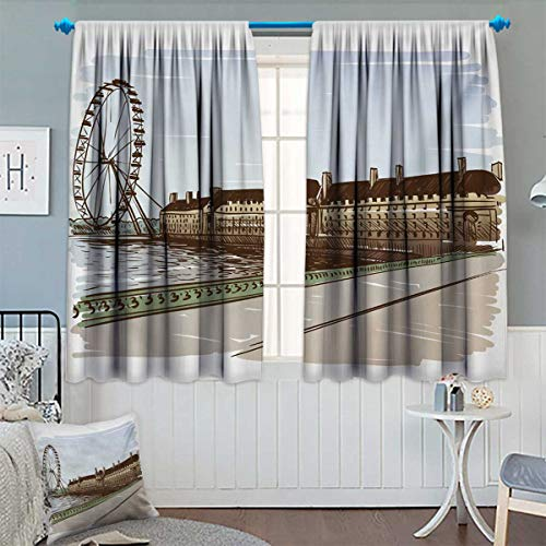 Anhounine London,Blackout Curtain,Buckingham Palace Historical Building Thames River Ferris Wheel Pencil Drawing Art,Drapes for Living Room,Multicolor,W72 x L45 inch ()
