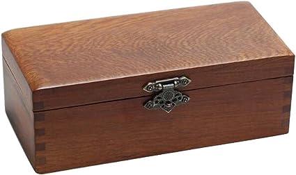 Caja de almacenamiento de joyas de madera retro caja de seguridad sello/pulsera Caja-Rectángulo: Amazon.es: Oficina y papelería