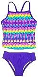 Speedo Girls Sporty Splice Tankini 2 Piece Swimsuit (12, Purple Teal Reflection)