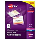 """Avery Top-Loading Hanging Style Name Badges, 3"""" x 4"""", Box of 100 (74459)"""