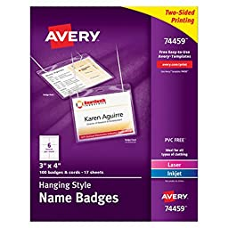 Avery Top-Loading Hanging Style Name Badges, 3\