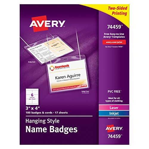 Avery Insertable 3 x 4 Inch White Name Badges 100 Count (74459) (Avery Programs)