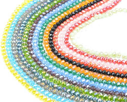 Catotrem 8mm Briollete Rondelle Crystal Glass Beads Faceted Crystal Beads for Jewelry Making Assorted Color(1050pcs) ()