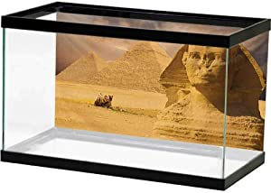 bybyhome Fish Tank Backdrop Poster Egyptian,The Great Sphinx Face with Other Pyramids in Egypt Old Historical Monument,Amber Sand Brown Fish Tank Background Decor