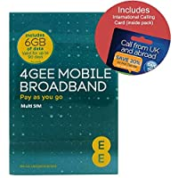EE 4G 6GB UK PAYG Trio Data SIM - Mobile Broadband -6GB + FREE International Calling Card - (RETAIL PACK)