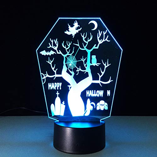 (HRUIHKV 3D LED Halloween Tree Molding Night Light Novelty USB 7 Colors Changing Table Lamp Bedroom Sleep Lighting)