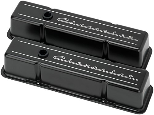 NEW BILLET SPECIALTIES SCRIPT SATIN BLACK POWDER-COATED ALUMINUM TALL VALVE COVER SET FOR CHEVROLET,FITS SMALL BLOCK CHEVY WITH METAL BAFFLES, RUBBER GROMMETS, 1 1/4