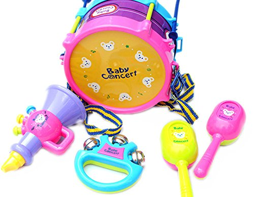 XEDUO Musical Instruments, 5pcs Kids Baby Roll Drum Musical Instruments Band Kit Children Toy