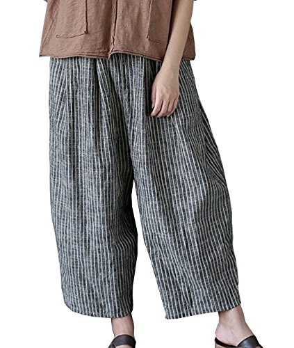 YESNO PE6 Cropped Pants Trousers Wide Leg Striped Color Constrast Pants Elastic Waist/Side ()