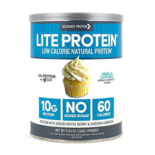 Designer Protein Lite, Vanilla Cupcake, 9.03 Ounce, Low Calorie Protein Powder (Best Low Carb Protein Shakes For Weight Loss)