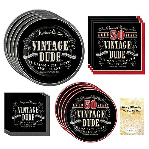 - 50th Birthday Party Supplies, Vintage Dude Design, Bundle of 4 Items: Dinner Plates, Dessert Plates, Lunch Napkins and Beverage Napkins