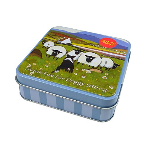 Irish Vanilla Fudge Tin 100G With Flock Of Sheep With Sheep Dog With 'Thank Ewe For Doggy Sitting' Text Sitting Sheep