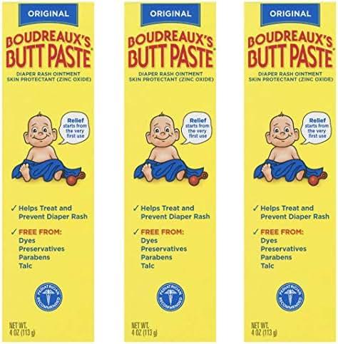 Boudreaux's Butt Paste Diaper Rash Ointment   Original   4 oz.   Pack of 3 Tubes   Paraben & Preservative Free