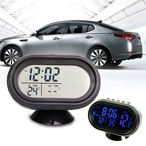 Alloet Auto Digital Car Thermometer Voltage Meter Monitor Clock LCD Display with Outside Sensor & 2 Pcs LR4 Battery (Blue Light) by Alloet (Image #1)