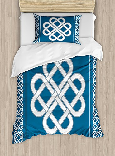 Ambesonne Irish Duvet Cover Set Twin Size, Celtic Love Knot Good Fortune Symbol Framework Border In Historical Amulet Design Theme, A Decorative 2 Piece Bedding Set with 1 Pillow Sham, Dark Aqua White
