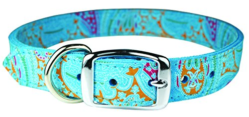 OmniPet 6247-TQ18 Paisley Pattern Leather Dog Collar, Turquoise (Dog Collar Turquoise)