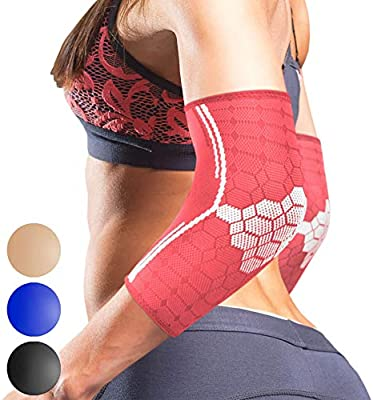Pair Sparthos Elbow Compression Sleeves Elbow Brace for Men and Women Made from Innovative Breathable Elastic Blend Tennis and Golfers Elbow Support