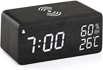 Upgraded Digital Alarm Clock With Wooden Electronic Led Time Large Display 3 Alarm Settings Wood Made Electric Clocks For Bedroom Bedside Office Black Home Audio Theater