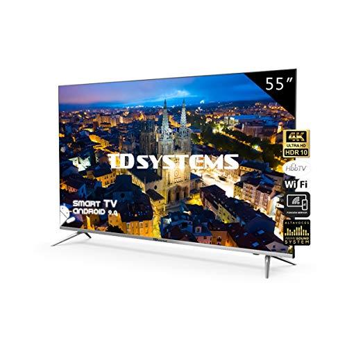 🥇 Televisores Smart TV 55 Pulgadas 4K UHD Android 9.0 y Hbbtv / 1300 PCI Hz/ 3X HDMI/ 2X USB/UHD HDR10/DVB-T2/C/S2/ televisiones led TD Systems K55DLJ10US