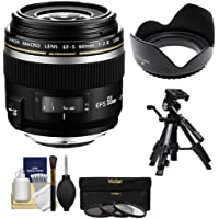 Canon EF-S 60mm f/2.8 Macro USM Lens with 3 UV/CPL/ND8 Filters + Hood + Tripod Kit for EOS 7D, 70D, 80D, Rebel T5, T5i, T6, T6i, T6s, SL1 DSLR Cameras