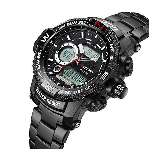 Multifunction Dial Watch (Men's Multi-Function Table Sports Quartz 3ATIM Waterproof Pointer LED Digital Display Big Dial Wristwatch (Black))