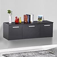 Yaheetech 3 Door Wall Mount Floating Media Storage Cabinet Desk Hutch Living/Dining Room Furniture ( Black )