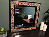 Talavera Tile Mirror with Mahogany Frame - 24 in x 28 in.