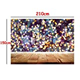 DODOING 7x5FT Photography Background Children Wood Wall Sparkle Glitter Bokeh Yellow Spots Shining Photography Backdrops for Photo Studio Props