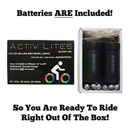 Super Cool LED Bike Wheel Lights (2 Tire Pack) with BATTERIES
