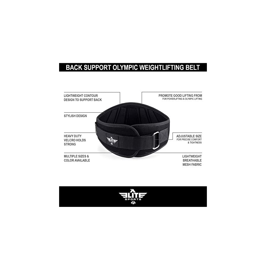 Elite Sports New Item Back Support for Men and Women, Olympic Lifting, and Weight Lifting Belt