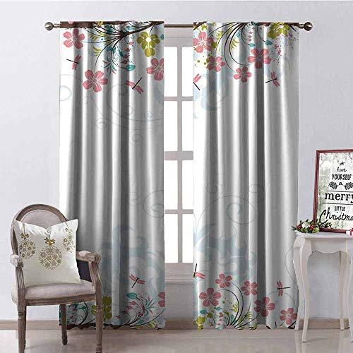 GloriaJohnson Dragonfly Shading Insulated Curtain Vivid Spring Branches Bunch of Blooms Tree Curling Leaf Artwork Soundproof Shade W52 x L54 Inch Light Pink Brown Lime Green