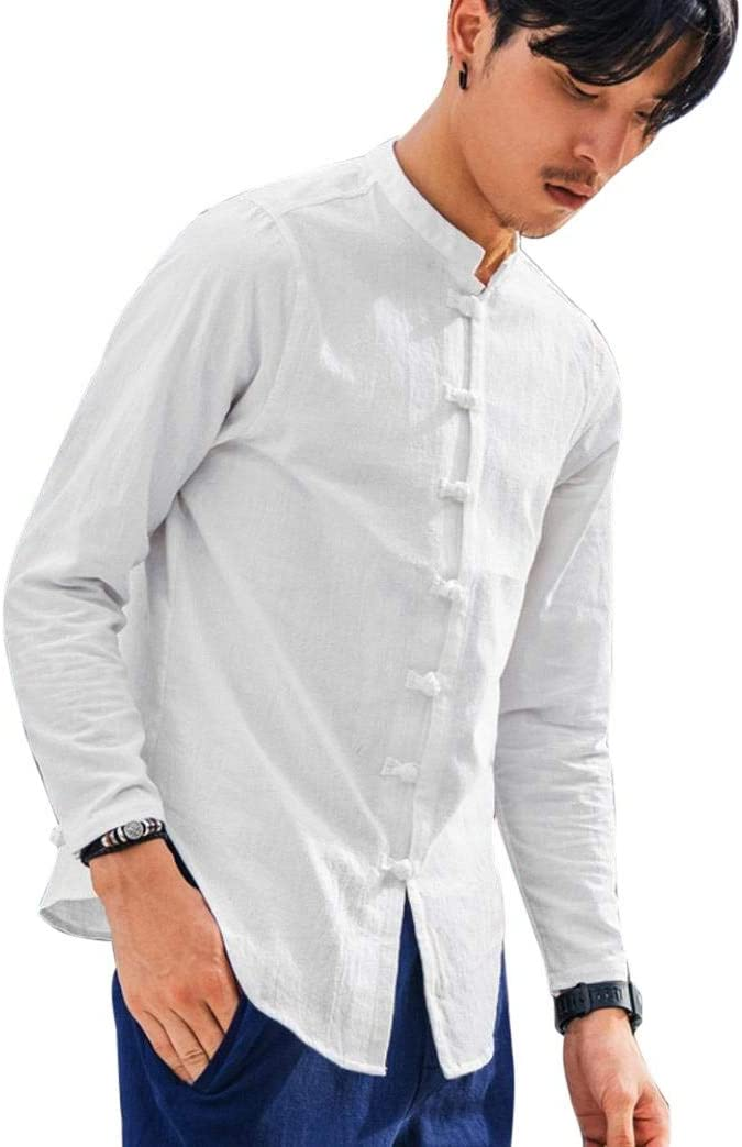 SPORTTIN Mens Long Sleeve Solid Button Down Cotton Chinese Kungfu Style Linen Shirts(Blue,4XL