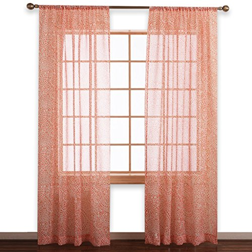 Pattern Door - NICETOWN Sheer Curtain and Drapery Panels - PanelsPaisley Pattern Faux Linen Sheer Voile Draperies for Sliding Glass Door (Orange, Double Panels, W50 x L84)