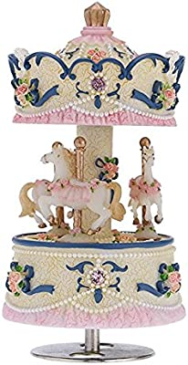 Rcdxing decoración del hogar Carrusel de 3 Caballos Caja de ...