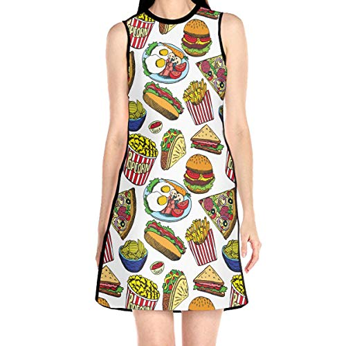 Women's Hot Dog with One Sausage Pattern Sleeveless O-Neck Dress Summer Casual Floral Printed Dresses White