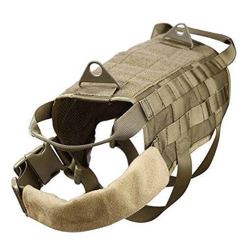 Flyshine 1000D Nylon Adjustable Molle Tactical Dog Training Vest Harness Utility Velcro pouch Accessory Bags