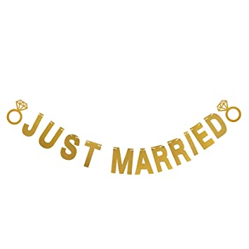 20fc57f29c7 Just Married Gold Glitter Bunting Banner for Funny Wedding ...