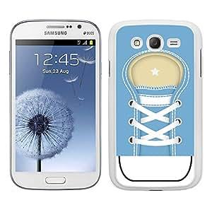 Funda carcasa TPU (Gel) para Samsung Galaxy Grand NEO Plus diseño zapatilla cordones color azul borde blanco