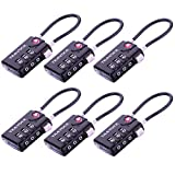 TSA Approved Luggage Locks, Travel Locks Which Also Work Great as Gym Locks, Toolbox Lock, Backpack and more, Black 6 Pack