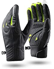 Rahhint Winter Gloves Cycling Gloves Waterproof Thermal Gloves, Bike Windproof Gloves Men Women Touch Screen Liner Warm Gloves Anti-Slip Padded Palm Shock-Absorbing for Driving Running Outdoor Blacked Palm Shock-Absorbing for Driving Running Outdoor Black
