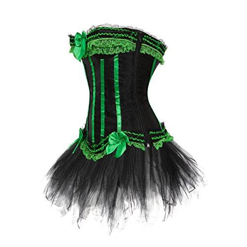 Kranchungel Women's Gothic Vintage Corset Skirt Set Moulin Rouge Dancer Fancy Clubwear Corsetto Bustino Verde
