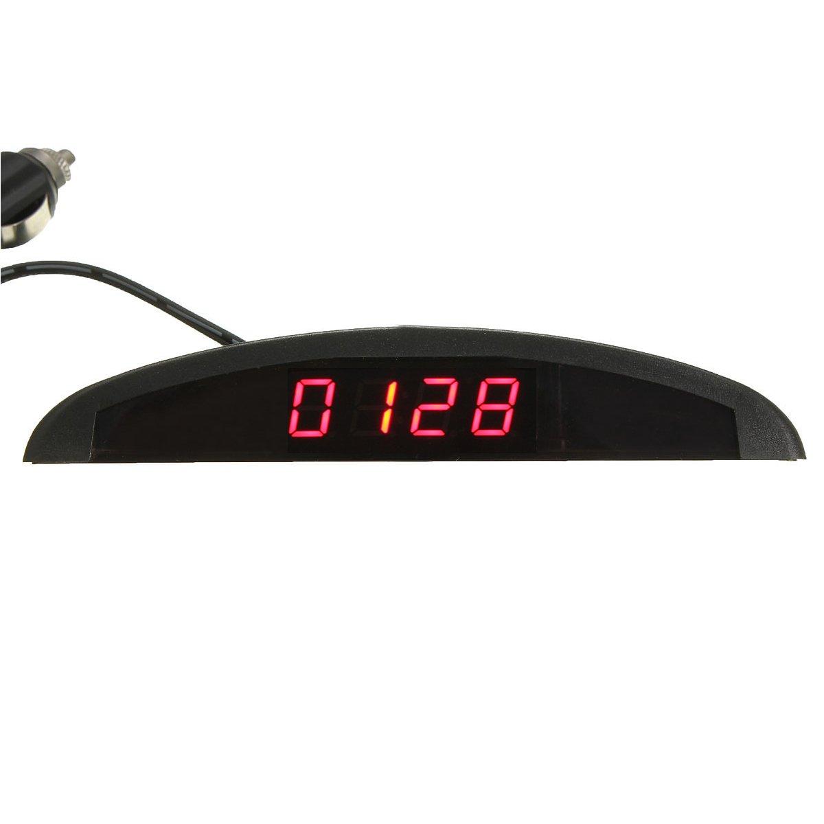 YONGYAO Horloge LED Numé rique Auto Voltmè tre Thermomè tre 12V 3 en 1 Fonction-Rouge