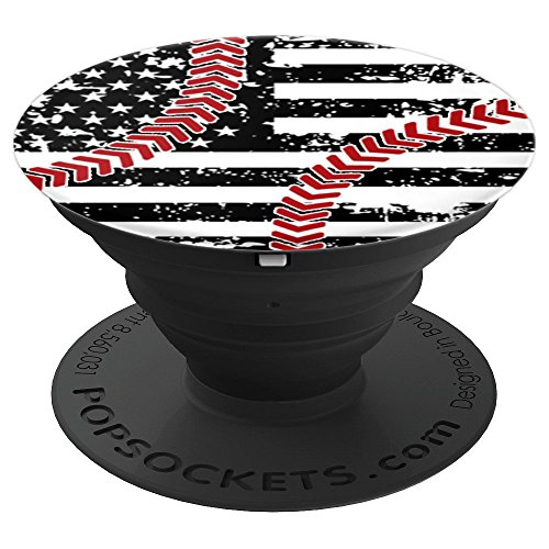 Baseball Design American Flag Laces Love Country Red Blue - PopSockets Grip and Stand for Phones and Tablets