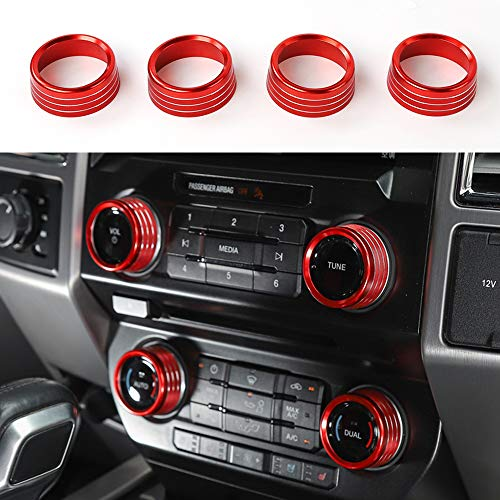 Red Air Conditioner Volume Tune Auto Dual Switch Knob Ring Cover Decor For Ford F150 Raptor 2016 2017 2018 ()