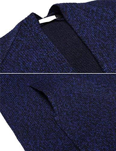 Tasche Giorno Casuale Cappotto Autunno Vita Monocromo Manica Casual Donna Blu Lunga Con Scuro Eleganti Outerwear Maglia Moda A Giacca Donne Retro Alta Cardigan Festiva TUqwT8r