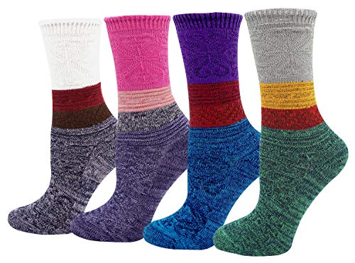 Women's Lady's 4 Pack Multi Color Cotton Crew Socks Multi Color2 One Size ()