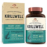 KrillWell Heart, Joint, and Cognitive Support   Certified Sustainable, Clinically-Proven K-Real Krill Oil 2X More Effective Than Fish Oil - 30 Day Supply
