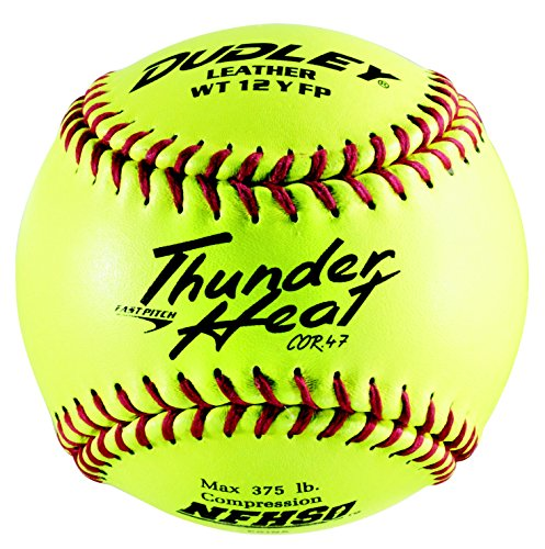 Dudley NFHS Thunder Heat Leather 12-Inch Yellow Fast Pitch Softball, .47/375-Pounds, Red Stitch(Pack of 12) ()