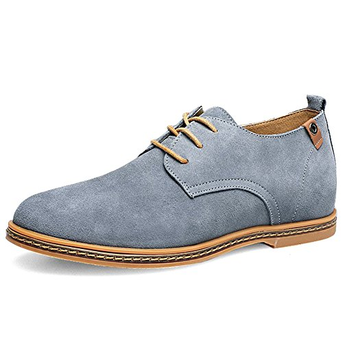 Cior Hommes Oxford Robe Classique En Daim En Cuir Chaussures De Sport Lacets Loafer Appartements Sneakers 01grey